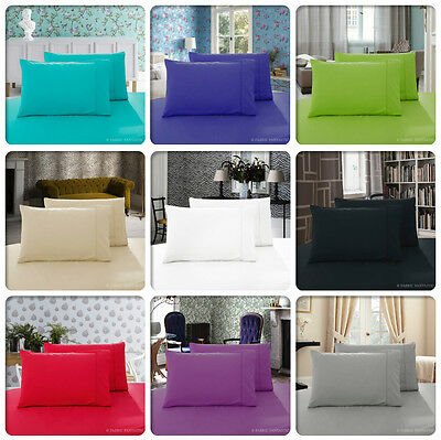 Pair of QUEEN / KING / STANDARD Size Pillowcases - 1000TC 10 Colours