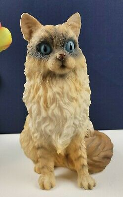 """Realistic Blue Eyed Cat Sitting Up Statue 11"""""""