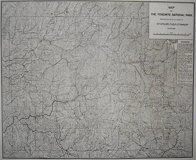 1896 ORIGINAL Early Map Of Yosemite National Park for US Cavalry, Rare