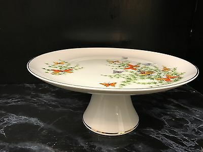 Shafford Ecstasy FOOTED CAKE PLATE STAND Butterflies Fine China Butterfly