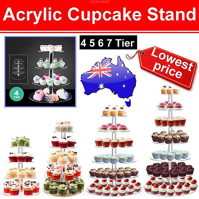 Acrylic Cake Stand 4 5 6 7 Tier Cupcake Clear Cake Stand Wedding Birthday Party