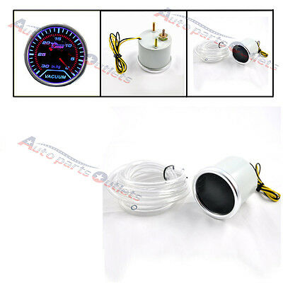 "Universal 2"" 52mm Smoke Len Pointer 0-30 Vacuum Gauge For Car Motor Truck New"