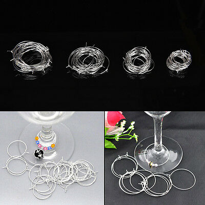 100 Silver Plated Wine Glass Charm Rings/Earring Hoops Wedding Hen Party gg