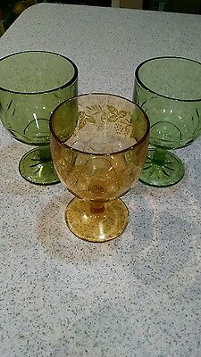 vintage Bartlett Collins wide mouth goblets. 2 green & 1 gold etched. Thumbnail.