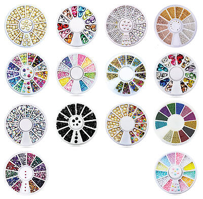 Nail Art Rhinestones Gems Beads Stones Pearl Studs Wheel Nail Deco Nail Art Tips