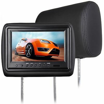 "Eonon 2x 9"" TFT Leather Car Digital Screen Headrest Monitor Pillow IR B-Black"