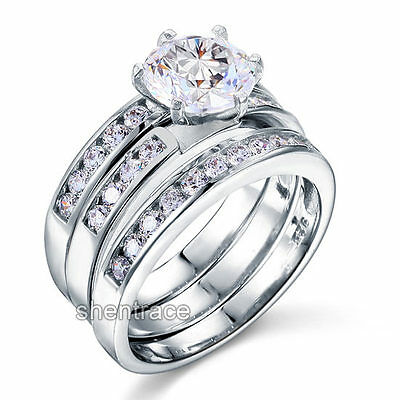 925 STERLING SILVER Simulated Diamond Engagement 3 Ring Set Size 6 7 8 9 L N P R