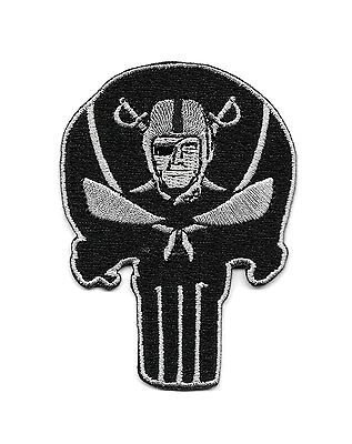 "Raiders Punisher Skull 3.5"" x 2.5"" Logo Embroidered Iron-on patch"