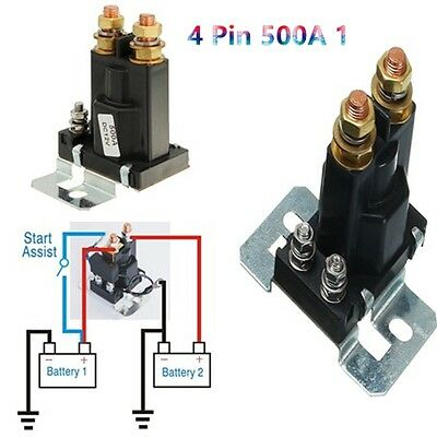 4 Pin 500A 12V  Car Auto Power Switch Dual Battery Isolator Relay Start On/Off