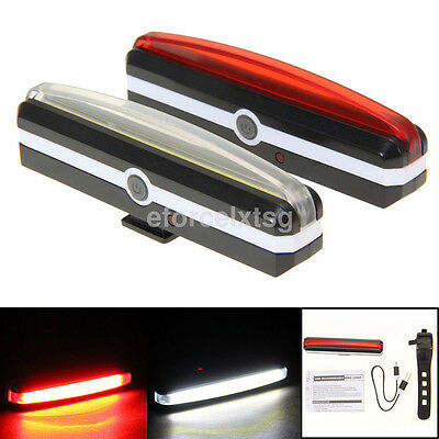 USB Rechargeable COB LED MTB Bicycle Bike Front Rear Warning Light Lamp 6 Modes