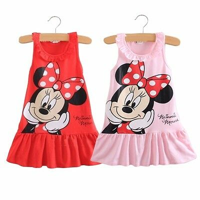 Kids Baby Girls Minnie Mouse Party Dress Summer Skirt Toddler Clothes Size 1-7