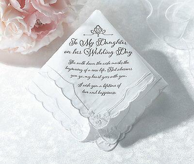 For My Daughter On Her Wedding Day Hankie From Mum Or Dad Mother Or Father