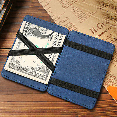 Mens Faux Leather Magic Credit Card Id Money Clip Slim Wallet Holder Ardent