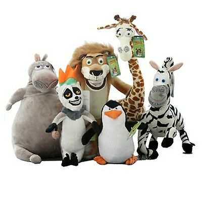 Madagascar Plush Toy 6 Pcs Dolls Set Alex Gloria Melman Marty Penguin Julian Lot