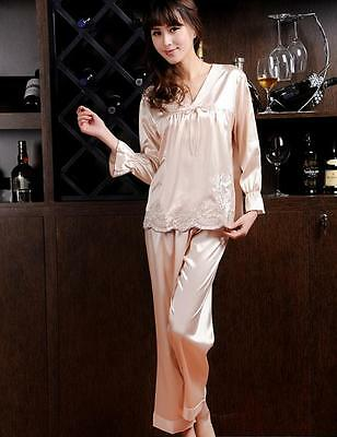 Womens ladies Silk Satin Pajamas Set pyjama Sleepwear Loungewear Nightwear L,XL