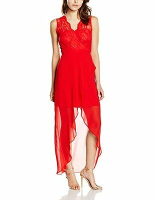 Rosso (TG. 44) Elise Ryan Lace High Low Chiffon, Vestito Donna, Rosso, 44
