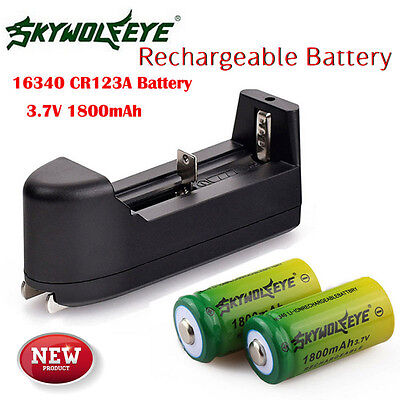 2PC 1800mAh Green 3.7v Li-ion 16340 CR123A Rechargeable Battery + Smart Charger