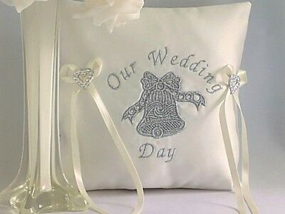 WEDDING RING CUSHION. White or Ivory satin. Embroidered with silver wedding bell