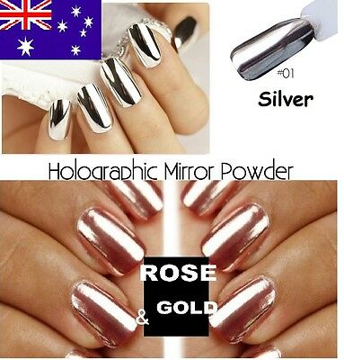 Silver & Rose Gold Holographic Mirror Chrome Effect Pigment Nail Art Powder