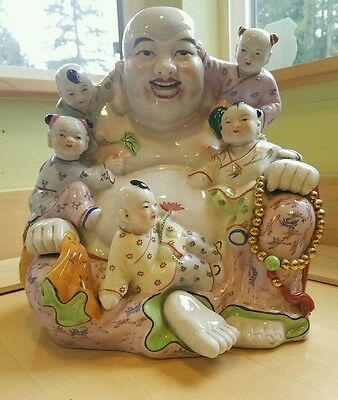 "(11"") Large Chinese Porcelain Buddha With Kids Sculpture  Art"