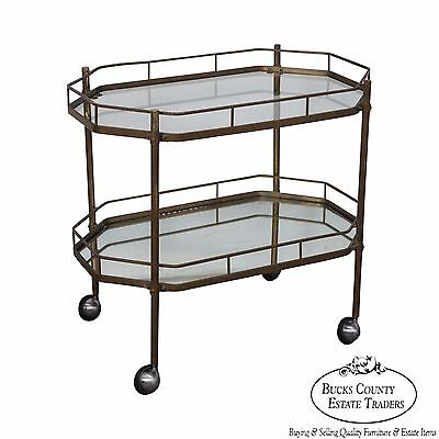 Mid Century Brass 2 Tier Mirror Shelf Bar Cart Trolley