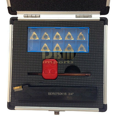 """12 PC 3/4"""" Indexable Threading Tool Holder with Carbide Inserts Set"""