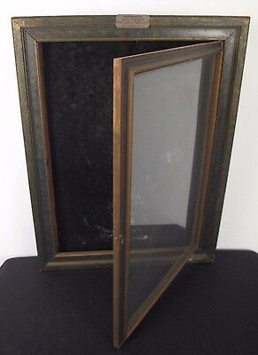 Victorian Wood Display Case Picture Frame Shadow Box w/ Door, fits 24 x 18