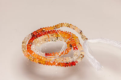 S2/ orange rot FIRE OPAL Feueropal Mexiko facett. Linsen 3,5 mm 38 cm Strang