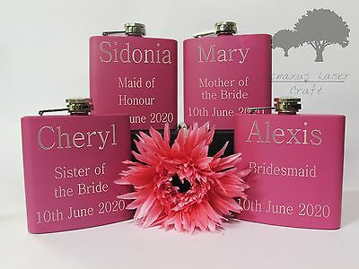 Personalised Engraved 6oz pink Hip Flask bridal hen party gift Boxed phf1
