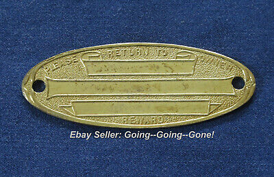 ANTIQUE 1900's BRASS ID PLAQUE FOR TRAVEL TRUNKS LUGGAGE RETURN FOR REWARD OVAL
