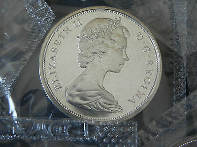 """1-1965 Canada 50 Cent, Nice """"truly"""" Uncirculated Silver Coin,50+ Years In Cello."""