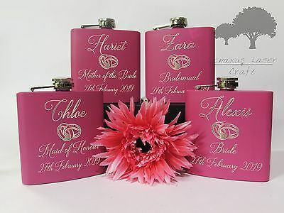 Personalised Engraved 6oz pink Hip Flask wedding hen party gift Boxed phf30