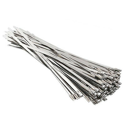 100 ~ 600 Stainless Steel Header Wrap Self Locking Cable Zip Ties Metal Bulk