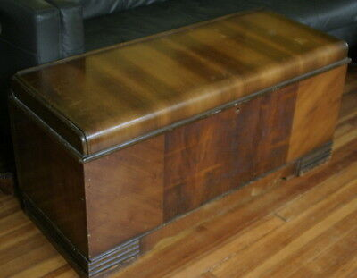 vintage or antique ca. 1920's Art Deco waterfall trunk or chest, cedar lined