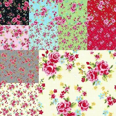 Party Rose Floral Fabric 100% Cotton Fabric ~ Large Roses & Mini Party roses