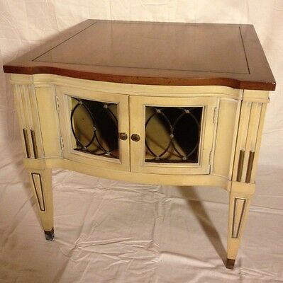 Mid Century Hollywood Regency French Provincial Nightstand Bedside End Table