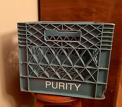 Vintage Purity Dairy Milk Crate Light Blue Plastic Storage Container