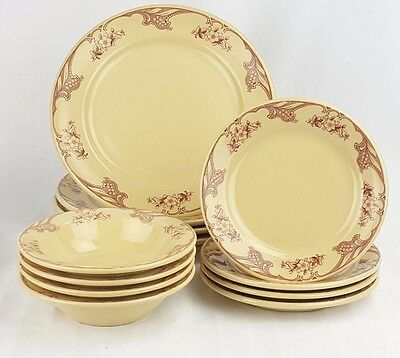 Shenango Inca Ware Rose Point Dinner Salad Plate Soup Bowl 12 Piece Set Rimrol
