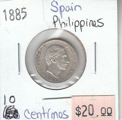 Spain Philippines 10 Centavos 1885 Circulated