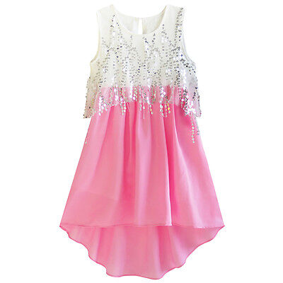 US Seller Girls Dress Sequined Hi-lo Chiffon Beach Party Sundress Size 6-14