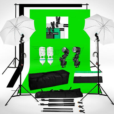 1250W Black White Green Backdrop Background Stand Umbrella Clamp Lighting Kit UK
