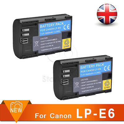 2X LP-E6 LPE6 FULLY Decoded Battery for Canon 5D MKII 7D 6D 60D 70D B9J 80D UK