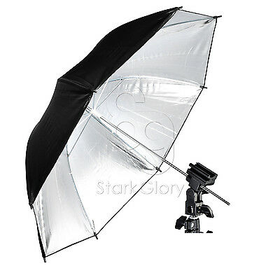 "Pro 33""/84cm 2-in-1 Photo Studio Reflective Umbrella Flash Mount Hotshoe Bracket"