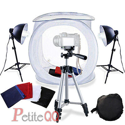 Camera Tripod stand for DSLR + 80cm Cube light Tent Softbox Backdrop Set Kit UK