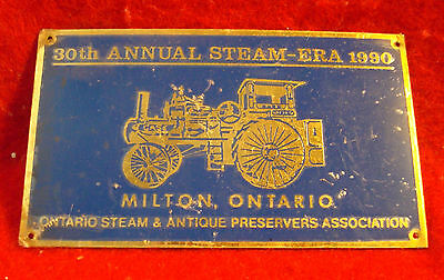 1990 Ontario Steam & Antique Preservers Assc 30th Anniversary Show Brass Plaque