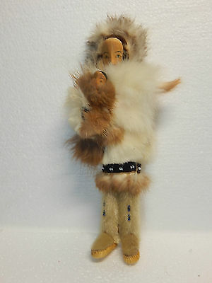 """Inuit Eskimo Art DOLL: Inuk Female with Child: Traditional fur Clothes, About 8"""""""