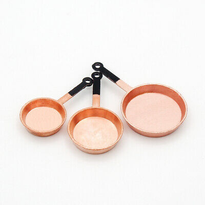 3PCS Metal Copper Frying Pan Set Miniature Cookware Kitchen 1:12 Dollhouse Decor