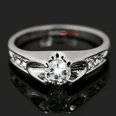 18k White Gold Plated Made with Swarovski Crystals Wedding Engagement Ring R29