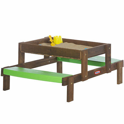 Little Tikes 2 in 1 Wooden Sand and Picnic Table, Kids Outdoor Garden Play Table
