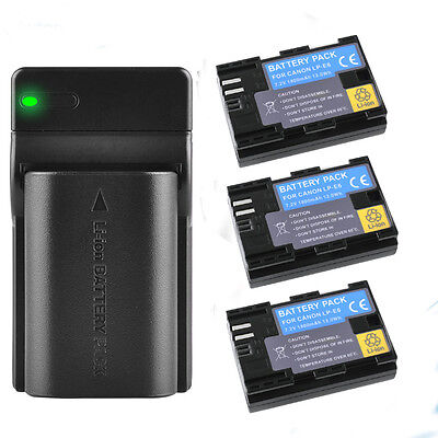 3X1800mA LP-E6 LPE6 Battery&USB Charger for Canon EOS 60D 7D 5D 80D Mark II UK